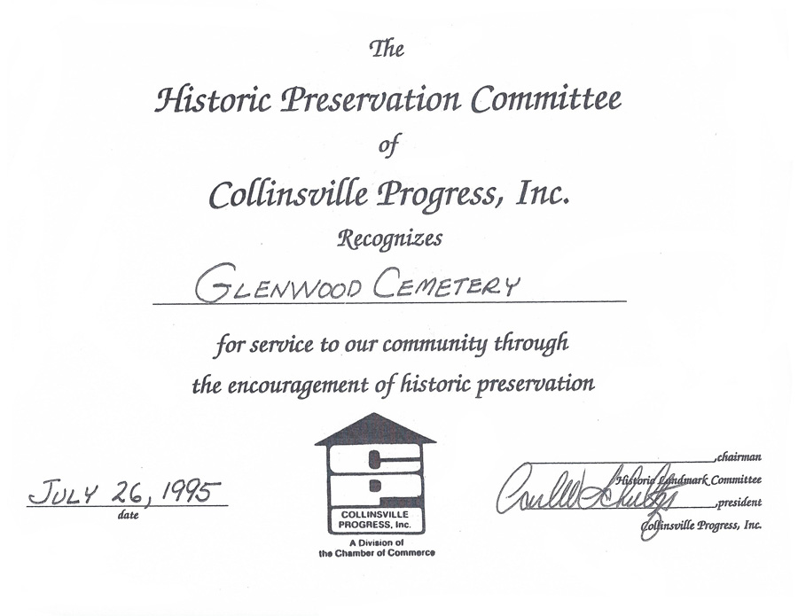 Historic Preservation Award for Glenwood Cemetery