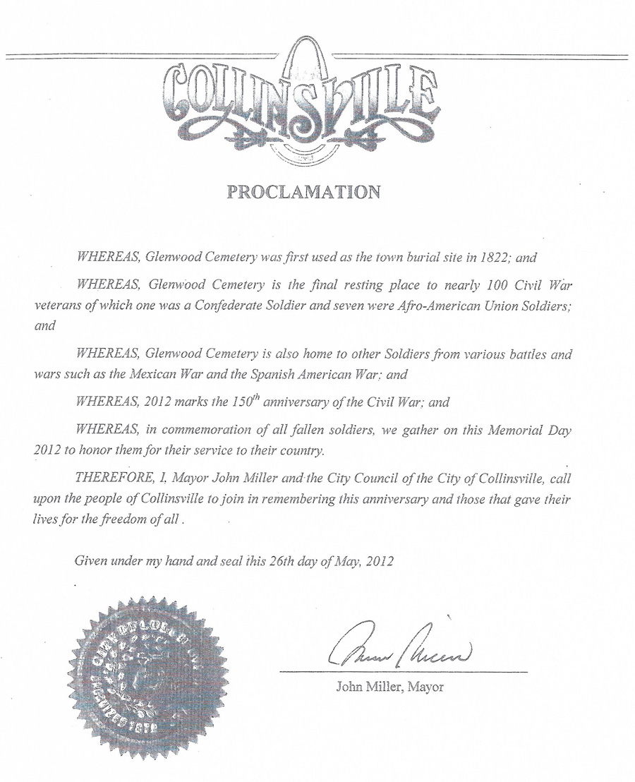 City of Collinsville Proclamation Remembering Those that Gave Their Lives for Freedom
